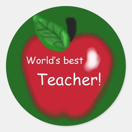 World's Best Teacher Apple on Green Round Sticker