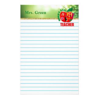 World's Best Teacher Green Lights Lined Paper Stationery Paper