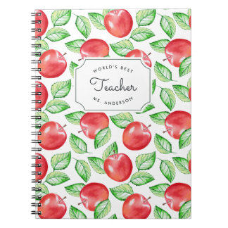 World's Best Teacher   Personalized Apple Pattern Notebook