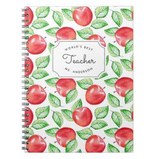World's Best Teacher | Personalized Apple Pattern Spiral Notebook