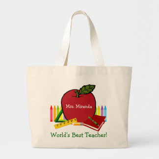 World's Best Teacher (red2) Large Tote Bag