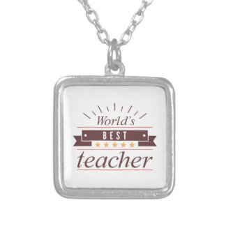 World's Best Teacher Silver Plated Necklace