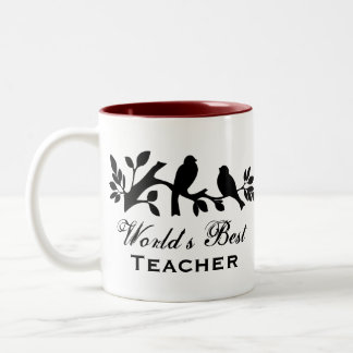 World's Best Teacher sparrows silhouette branch Two-Tone Coffee Mug