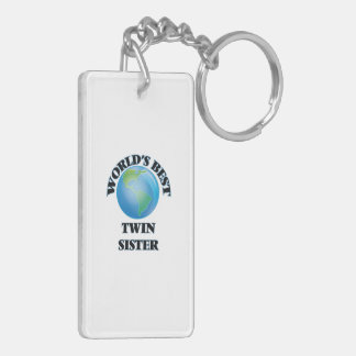 World's Best Twin Sister Rectangle Acrylic Keychain