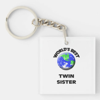 World's Best Twin Sister Single-Sided Square Acrylic Keychain