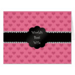 World's best wife pink hearts big greeting card