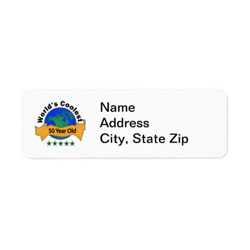 World's Coolest 50 Year Old Custom Return Address Labels