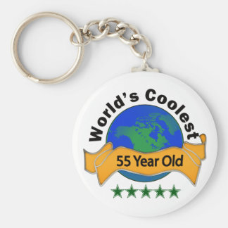 World's Coolest 55 Year Old Basic Round Button Keychain