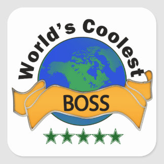 World's Coolest Boss Square Sticker