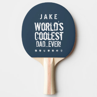 World's Coolest DAD Blue and White Stars J02Z Ping Pong Paddle