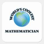 World's coolest Mathematician Square Stickers