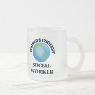 World's coolest Social Worker 10 Oz Frosted Glass Coffee Mug
