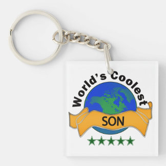 World's Coolest Son Single-Sided Square Acrylic Keychain