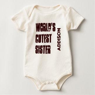 World's Cutest SISTER Custom Name Baby Bodysuit