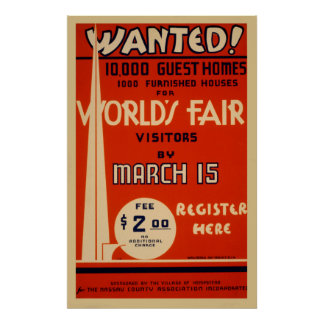 World's Fair Vintage WPA Wanted Poster