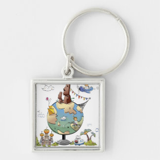 World's famous places around the globe key chains