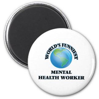 World's Funniest Mental Health Worker 2 Inch Round Magnet