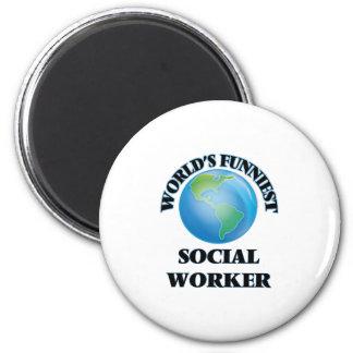 World's Funniest Social Worker 2 Inch Round Magnet