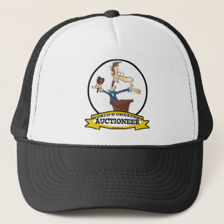 WORLDS GREATEST AUCTIONEER MEN CARTOON TRUCKER HAT