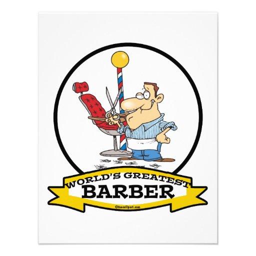 WORLDS GREATEST BARBER MEN CARTOON INVITATION