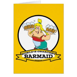 WORLDS GREATEST BARMAID WOMEN CARTOON CARD