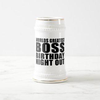 Worlds Greatest Boss Birthday Night Out 18 Oz Beer Stein