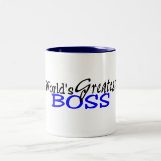 Worlds Greatest Boss Black Blue Two-Tone Mug