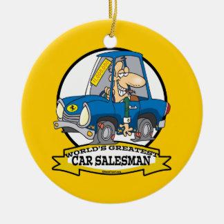 WORLDS GREATEST CAR SALESMAN MEN CARTOON CERAMIC ORNAMENT
