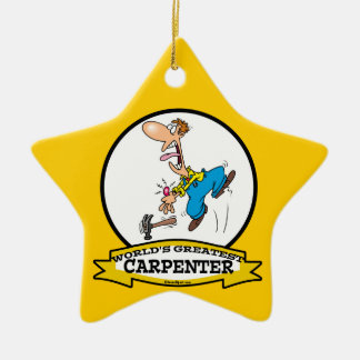 WORLDS GREATEST CARPENTER II MEN CARTOON CERAMIC STAR ORNAMENT