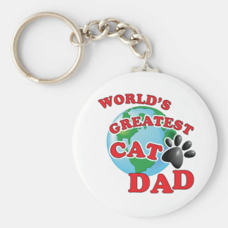 World's Greatest Cat Dad Paw Print Keychain