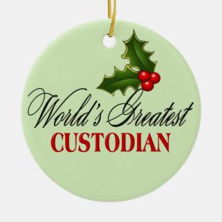 World's Greatest Custodian Ceramic Ornament