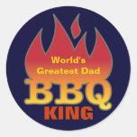 World's Greatest Dad BBQ KING Round Sticker