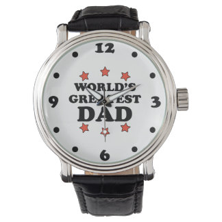 World's Greatest Dad Black Vintage Leather Watch