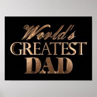 World's Greatest Dad Elegant Black Gold Typography Poster