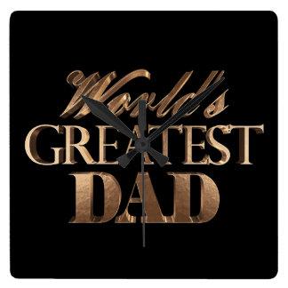 World's Greatest Dad Elegant Black Gold Typography Square Wall Clock