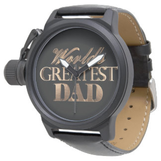World's Greatest Dad Elegant Black Gold Typography Wrist Watch