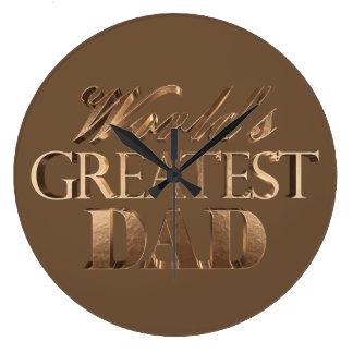 World's Greatest Dad Elegant Brown Gold Typography Large Clock