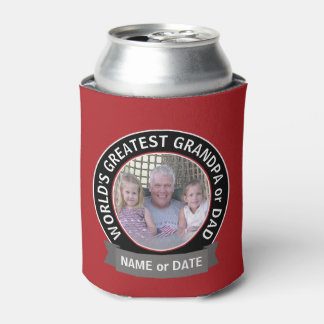 World's Greatest Dad Grandpa Photo red black Can Cooler