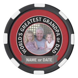 World's Greatest Dad Grandpa Photo red black Poker Chips
