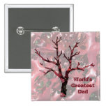 World's Greatest Dad Red Oak Leaves, Tree 2 Inch Square Button