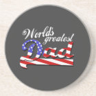 Worlds greatest dad with American flag - Dark Coaster