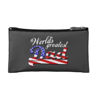 Worlds greatest dad with American flag - Dark Cosmetics Bags