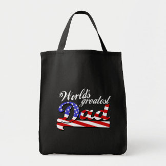 Worlds greatest dad with American flag - Dark Grocery Tote Bag