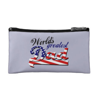 World's greatest dad with American flag Makeup Bag