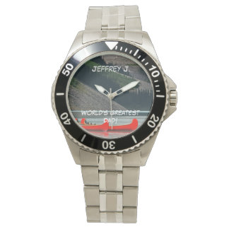 World's Greatest Dad! Wrist Watch, Canoes, Mtns Wristwatches