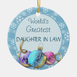 World's Greatest Daughter In law Christmas Ceramic Ornament