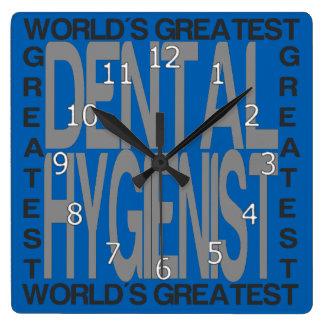 Worlds Greatest Dental Hygienist Square Wall Clock