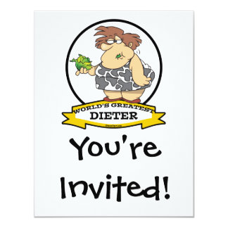 "WORLDS GREATEST DIETER CARTOON 4.25"" X 5.5"" INVITATION CARD"