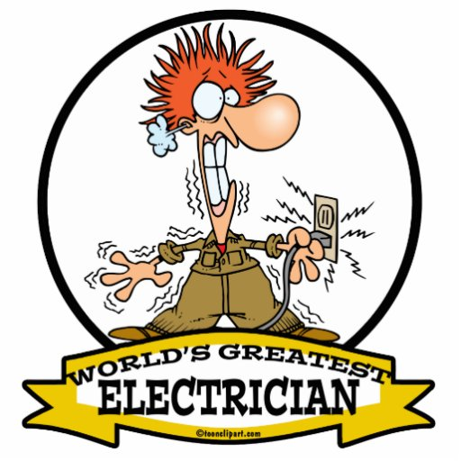 WORLDS GREATEST ELECTRICIAN MEN CARTOON PHOTO CUTOUTS