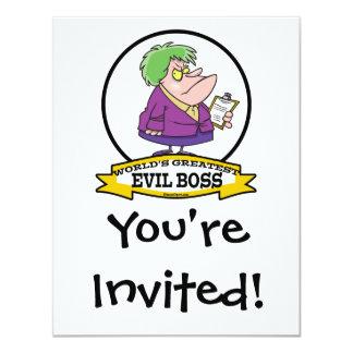 "WORLDS GREATEST EVIL BOSS LADY CARTOON 4.25"" X 5.5"" INVITATION CARD"